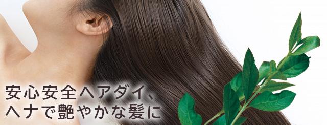 安心安全ヘアダイ、ヘナで艶やかな髪に